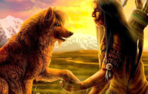 Native American Bond with Wolf