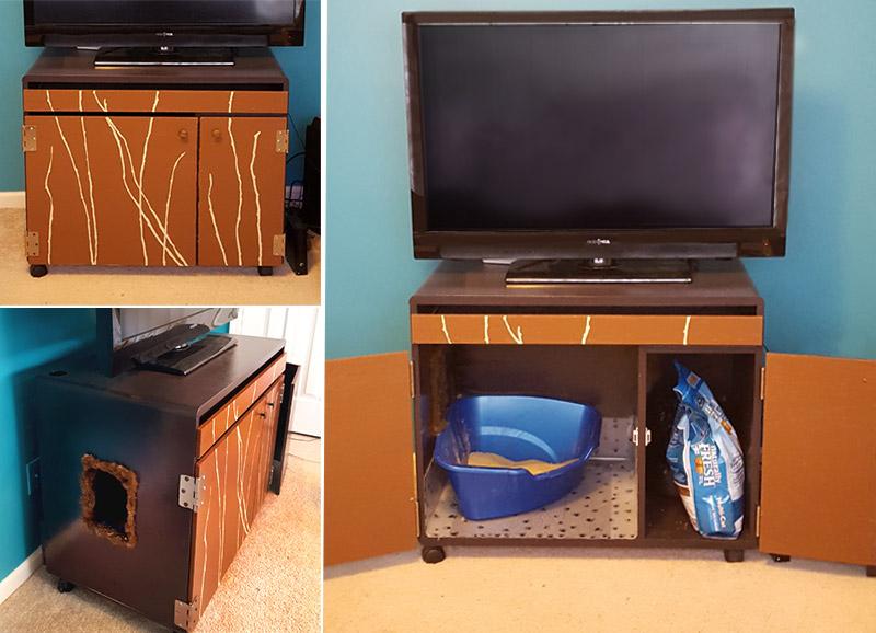 Diy Cat Litter Enclosure From A Computer Desk
